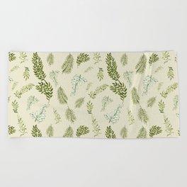 Scattered Leaves on pale sage background, botanical motif, illustration Beach Towel