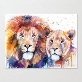 Lion Lioness Love Canvas Print