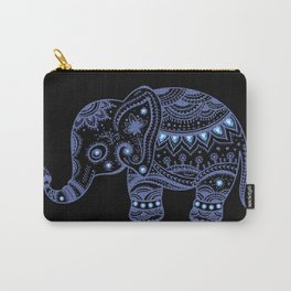 Blue Tones Faux Glitter Cute Elephant Carry-All Pouch