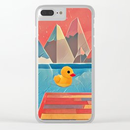 Little duck in the pool Clear iPhone Case