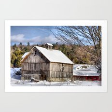 Berkshire Barn In Winter Art Print