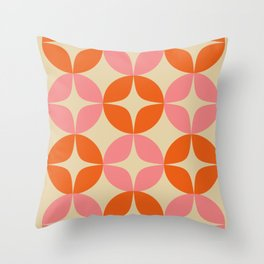 Mid Century Modern Pattern in Pink and Orange Throw Pillow