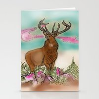 elk Stationery Cards featuring Elk by Hollyce Jeffriess Designs