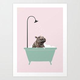 Hippo Enjoying Bubble Bath Art Print