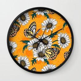 Jezebel butterflies and daisy flowers Wall Clock