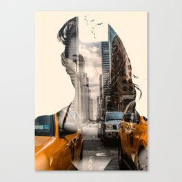 Yellow Cabs - Double Exposure Poster Canvas Print