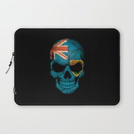 Dark Skull with Flag of Turks and Caicos Laptop Sleeve
