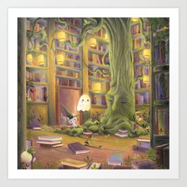 The  library Art Print