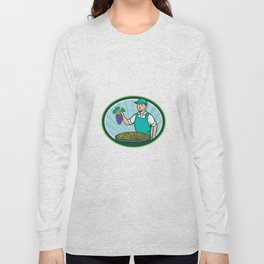 Farm Boy Holding Grapes Bowl Raisins Oval Retro Long Sleeve T-shirt