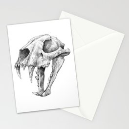Dinictis, The 'False Sabertooth Cat' skull | Graphite Pencil Art Stationery Cards