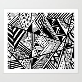 Black and White Doodle Art Print