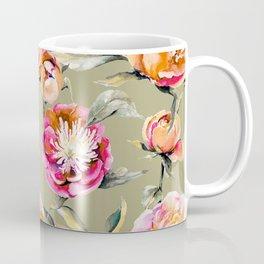 Summery Orange And Pink Peonies Coffee Mug
