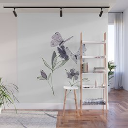 Flowers and butterflies 4 Wall Mural