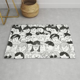 Colorful People Faces Pattern Rug