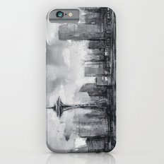 Seattle Skyline Painting Watercolor Black and White Space Needle iPhone 6s Slim Case