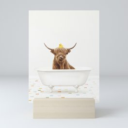 Highland Cow with Rubber Ducky in Vintage Bathtub Mini Art Print