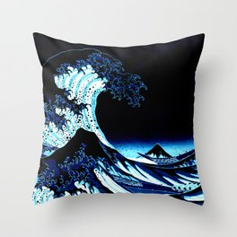 the Great Wave blue Throw Pillow