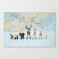 ANIMALS WORLD MAP Canvas Print