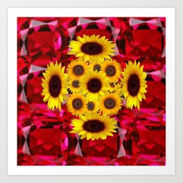 JULY RUBY RED GEMSTONES & YELLOW FLOWERS Art Print