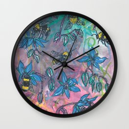 Bees and Borage Wall Clock