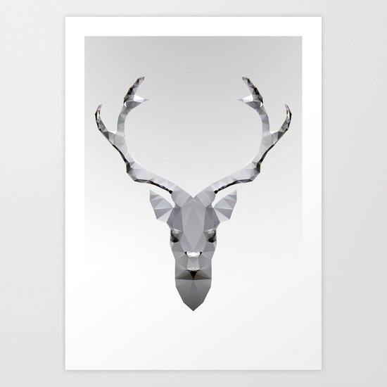 Geo Metal Deeer 01w Art Print