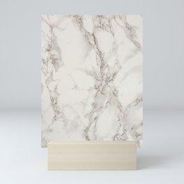 Classic Beige and White Marble Natural Stone Veining Quartz Mini Art Print