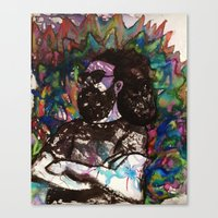 grateful dead Canvas Prints featuring Jerry Garcia Watercolor Portrait Grateful Dead by Acorn