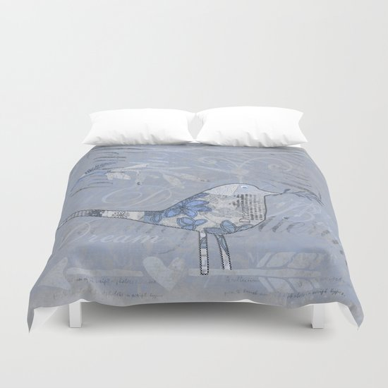 Blue Patchwork Bird Collage with Typography Duvet Cover