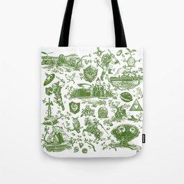 "Zelda ""Hero of Time"" Toile Pattern - Kokiri's Emerald Tote Bag"