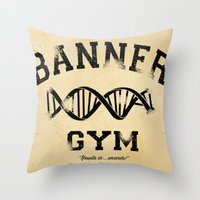 gym Throw Pillows featuring Banner Gym by Mitch Ethridge