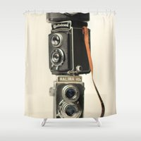 cameras Shower Curtains featuring Vintage cameras by Aubergine photos