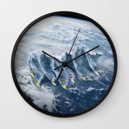 Surfing the Earth Wall Clock