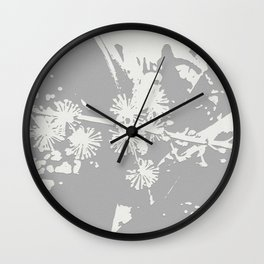 Starflowers on gray Wall Clock
