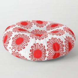 vintage flowers red Floor Pillow