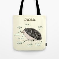 anatomy Tote Bags featuring Anatomy of a Hedgehog by Sophie Corrigan