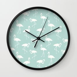 Flamingo Silhouettes, Pattern Of Flamingos - Blue Wall Clock