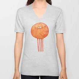 Poofy Orange Yarn Unisex V-Neck