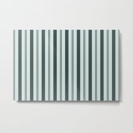 Night Watch Color of the Year Thick and Thin Vertical Stripes on Cave Pearl Light Mint Green Metal Print