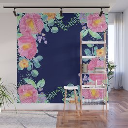 pink peonies with navy background Wall Mural