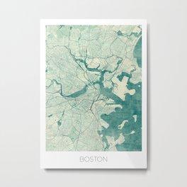 Boston Map Blue Vintage Metal Print