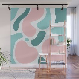 Retro Mint Green and Pink Blobs Over Pale Grey - Abstract Shapes - Funky Art - Matisse Wall Mural