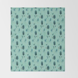 country blue flowers pattern Throw Blanket