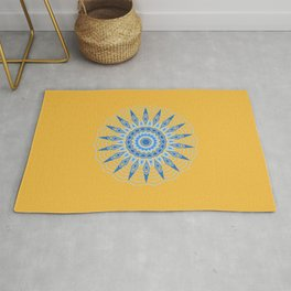 Gold Blue Aztec Mandala Design Rug