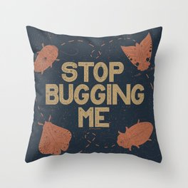 Stop Bugging Me- Navy Orange Throw Pillow