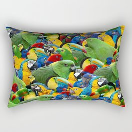 Parrots collage birds photo print parrots pattern green blue red yellow Rectangular Pillow