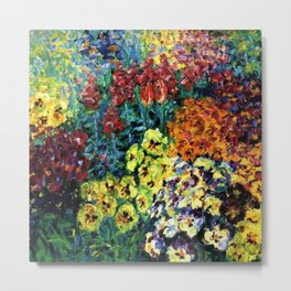 Spring Flower Garden, Pansies, Iris, Tulips, and Lilies still life by Emil Nolde Metal Print