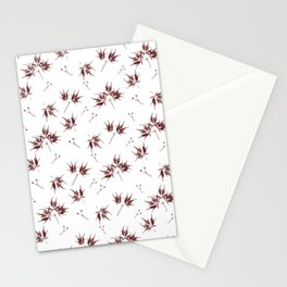 Red Acer Pattern Stationery Cards