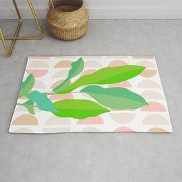 Sunny Banana leaves on Mid Century Modern pattern Rug