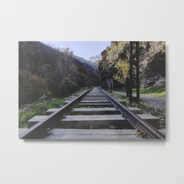 Old mountain train station. Abandoned project Metal Print