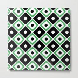 Mid Century Modern Diamond Dot Pattern 427 Black and Green Metal Print